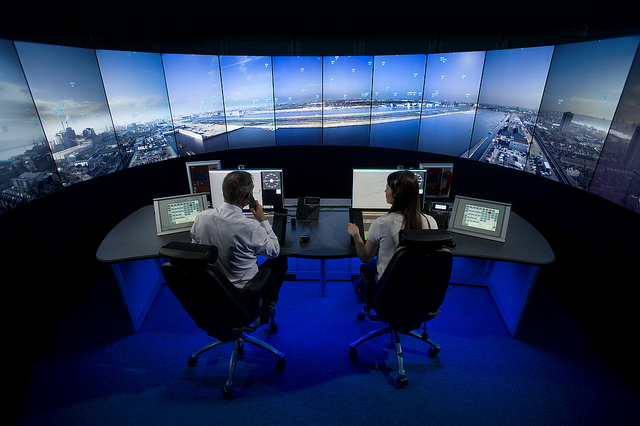 digital remote tower control room