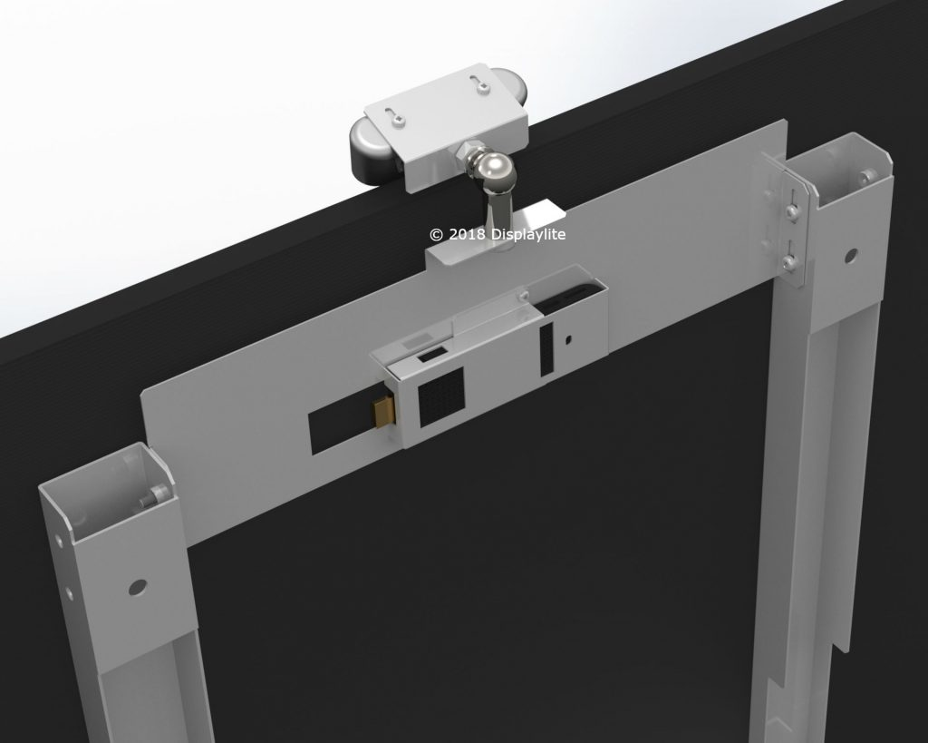 Rendered model of camera bracket for a Samsung display designed and drawn by Displaylite using Solidworks.