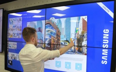 Interactive video wall in Samsung UK's showroom